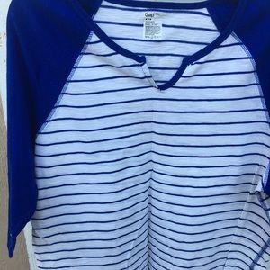 Blue/ White Long Sleeve Baseball Tee